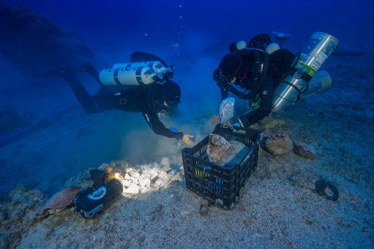 Underwater excavation of the Antikythera Shipwreck.