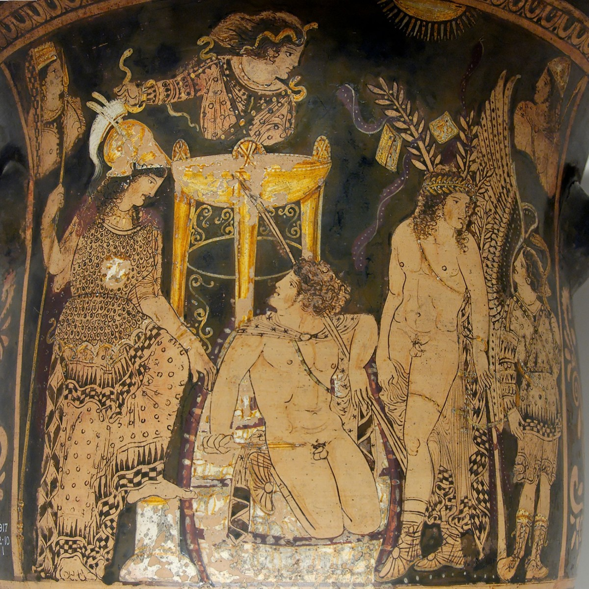 Orestes at Delphi. Paestan red-figured bell-krater, ca. 330 BC.
