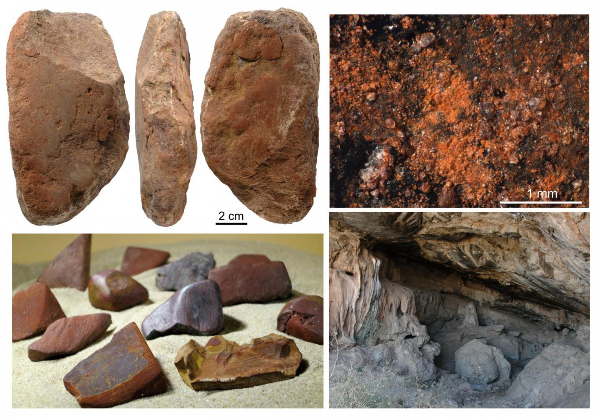 Top left: tool used to grind ochre from the Middle Stone Age levels of Porc-Epic Cave, Dire Dawa, Ethiopia; Top right: residues of ochre on the same object; Bottom left: modified ochre lumps from the same levels; Bottom right: photo of the cave. Credit: D.E. Rosso and F. d'Errico