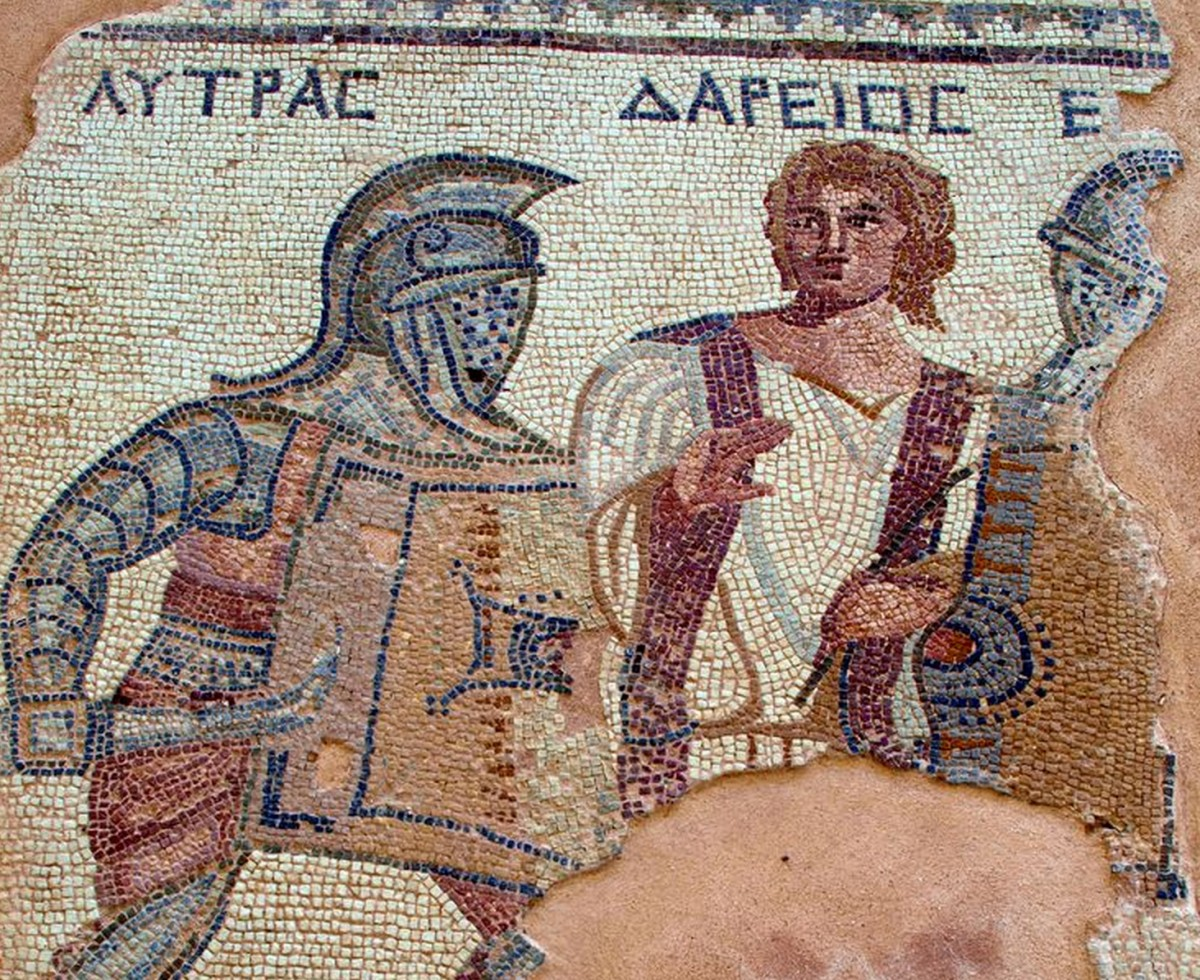 Mosaic depicting a gladiatorial fight. From the House of the Gladiators, Kourion, Cyprus.
