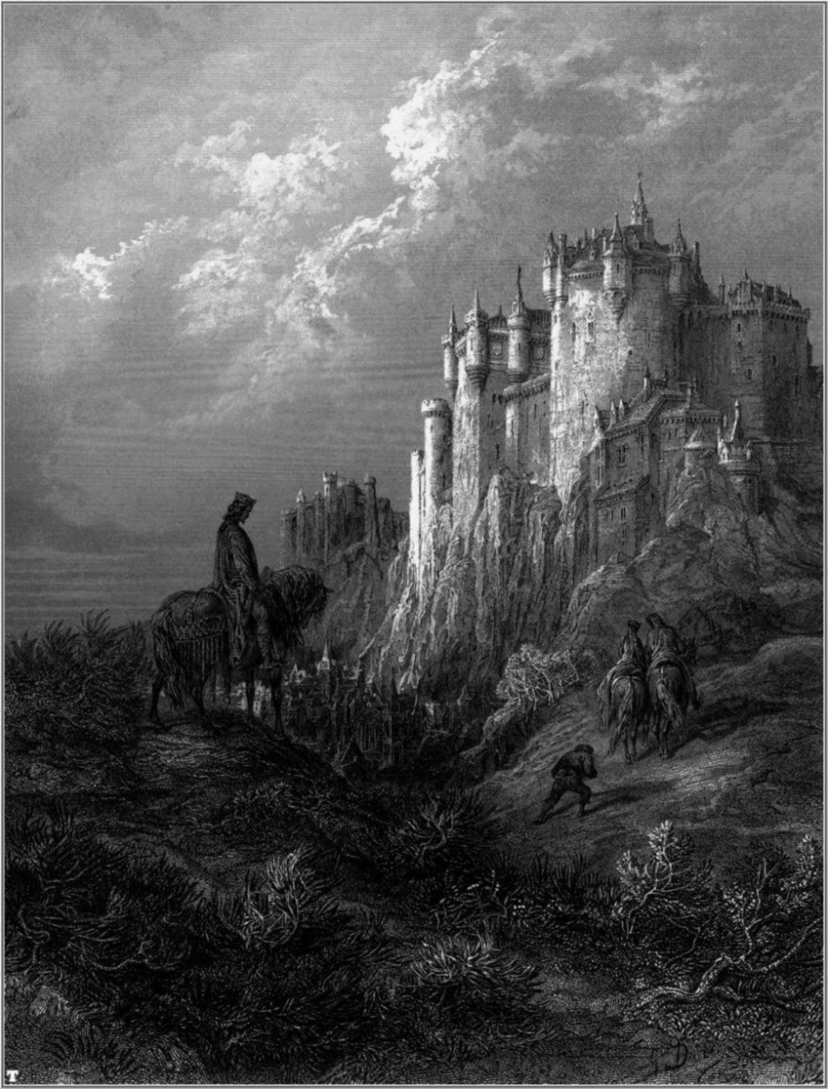"Camelot as depicted by Gustave Doré. This illustration is for the poem ""Enid"" from the ""Idylls of the King"", a cycle of twelve poems by Alfred Lord Tennyson, Edward Moxon & Co., London 1868."