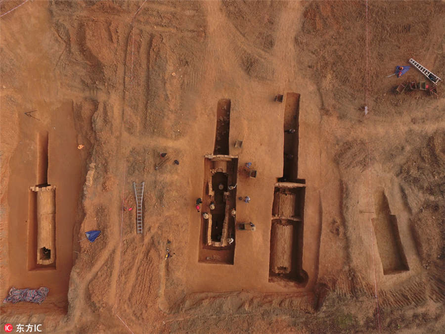 View of the tombs discovered at Xintang county in Guangzhou,  Guangdong province.