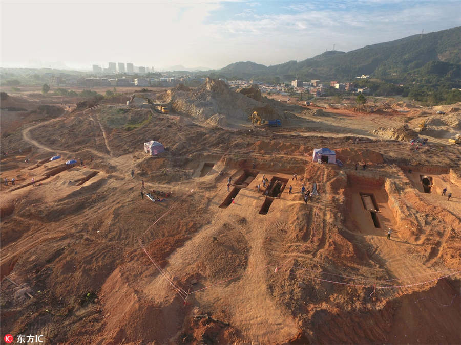 Guangzhou: Aerial view of the excavation area.