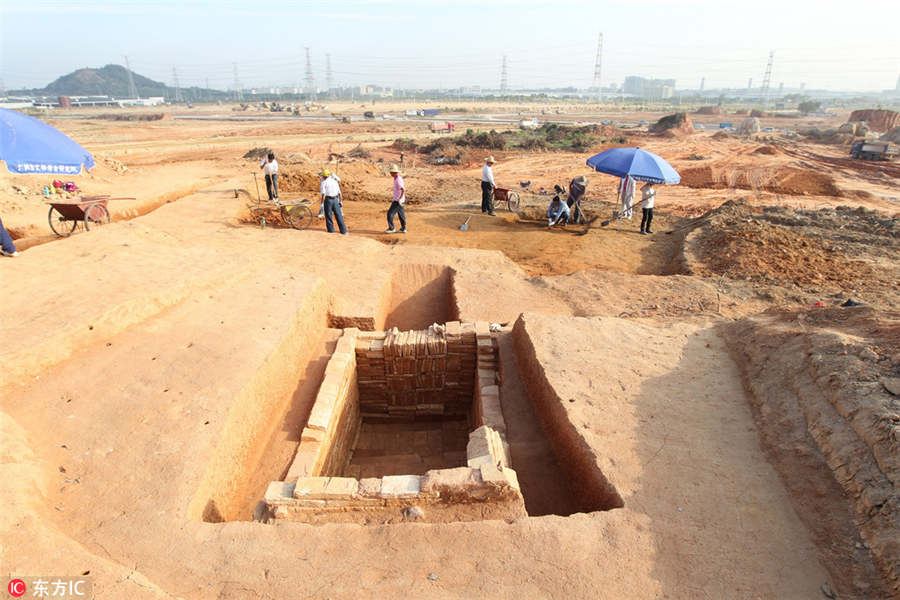View of the excavations at Xintang county, Guangzhou,  Guangdong province.