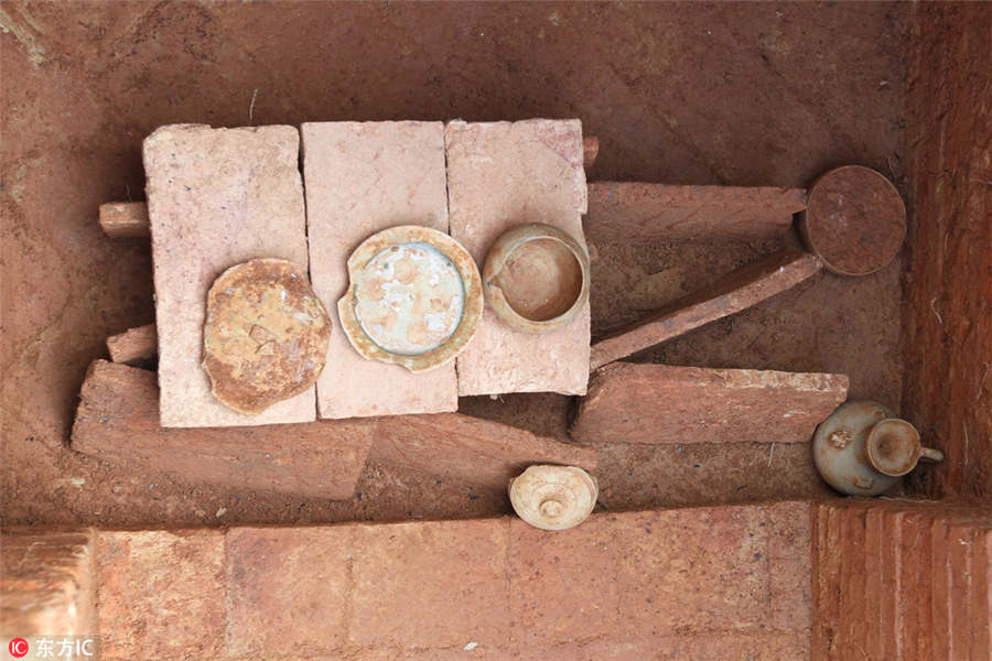 Some of the artefacts unearthed from the tombs at Xintang county, Guangzhou, Guangdong province.
