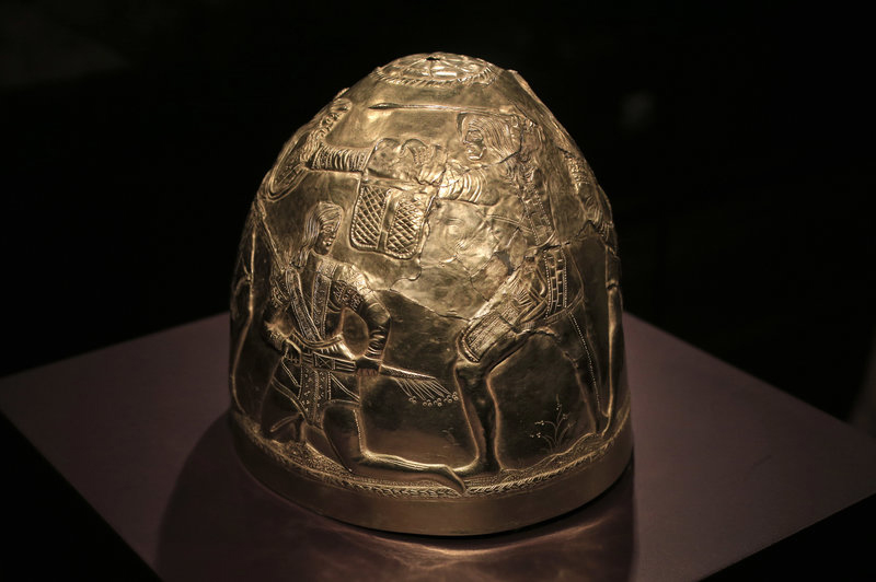 A Scythian gold helmet from the fourth century B.C., which is part of the collection that was in limbo after Russia  annexed Crimea. Credit: Peter Dejong/AP