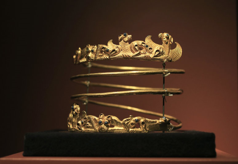 A spiraling torque from the second century A.D. is displayed as part of the exhibition in 2014 at Allard Pierson historical museum in Amsterdam. Credit: Peter Dejong/AP