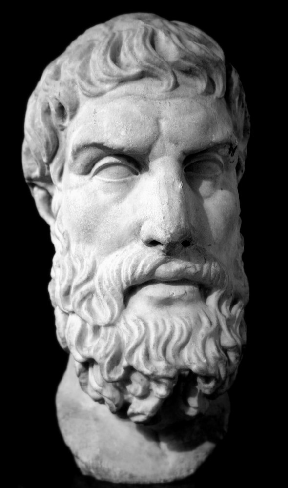 Marble bust of Epicurus. Roman copy of Greek original, 3rd century BC/2nd century BC. On display in the British Museum, London.