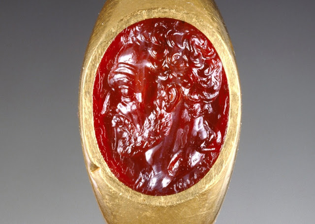 Intaglio of head of Demosthenes signed by Apelles. Credit: Getty Museum