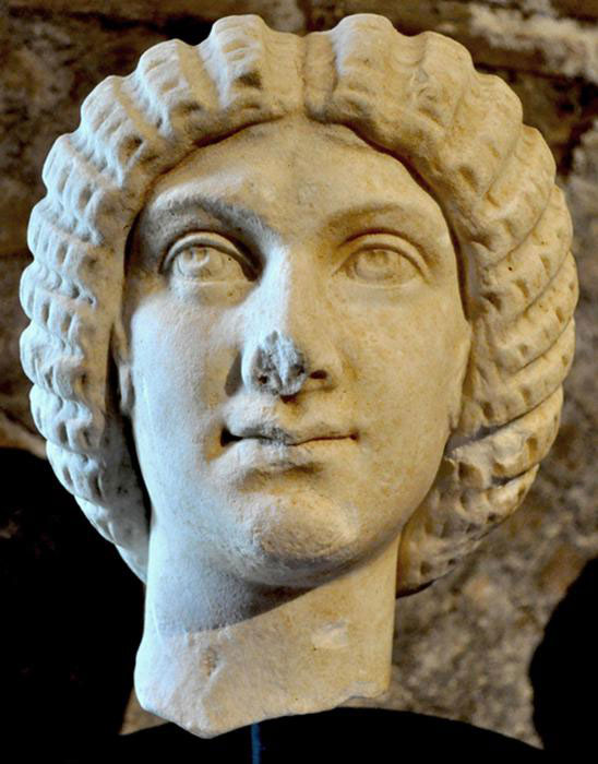 The marble head depicting the Roman Empress Julia Domna was stolen in 2013  from Hadrian's Villa at Tivoli, near Rome. Photo Credit: ANSA/TANN.