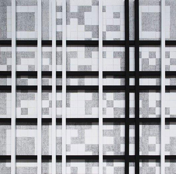 "Fig. 2. With emphasis on the QR Codes and the black and white squares creating endless unique combinations and correspond to words she has predefined, Elena Marinou attempts to introduce contemporary Greek artists and their work to the viewers, encouraging each one of them to proceed to his/her own ""modern"" reading and interpretation."