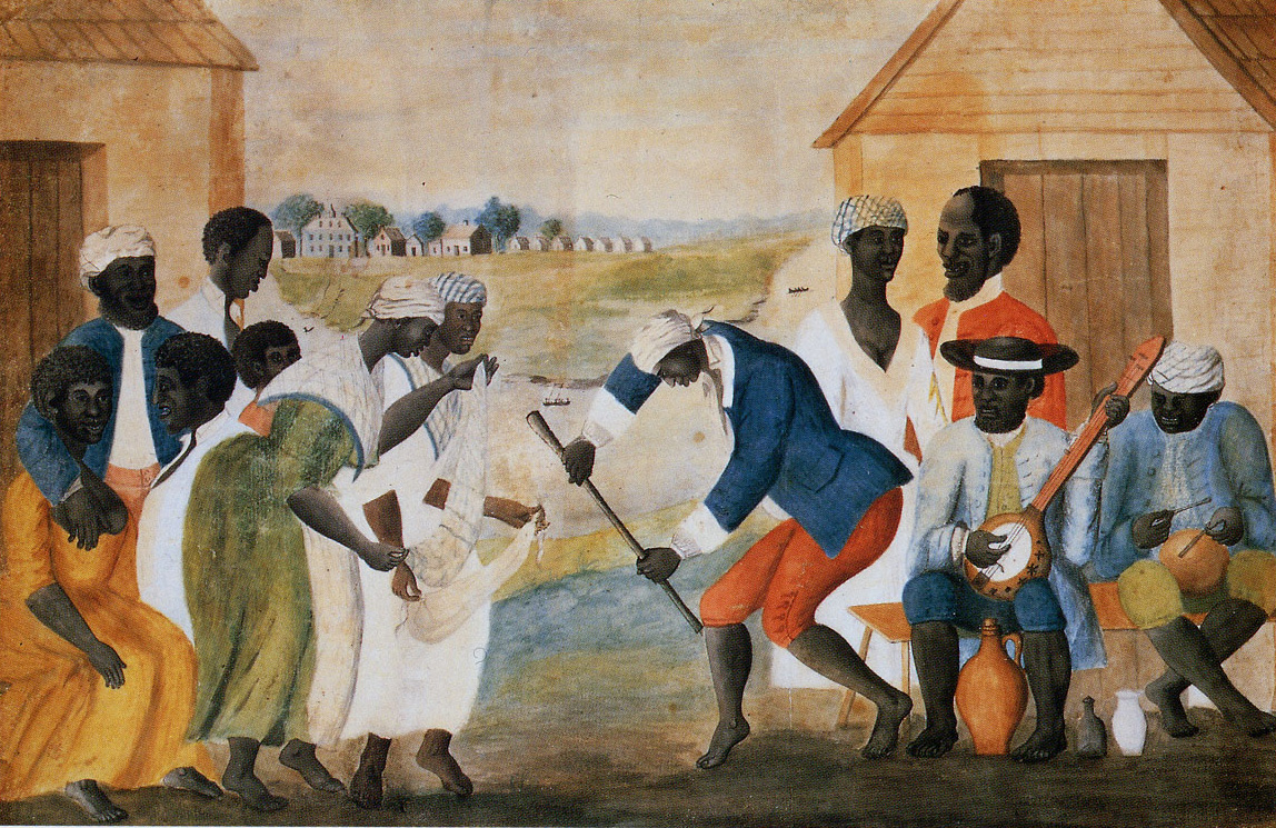 """The Old Plantation"", attributed to John Rose. Possibly 1785-17985. Abby Aldrich Rockefeller Folk Art Museum, Colonial Williamsburg, Virginia"