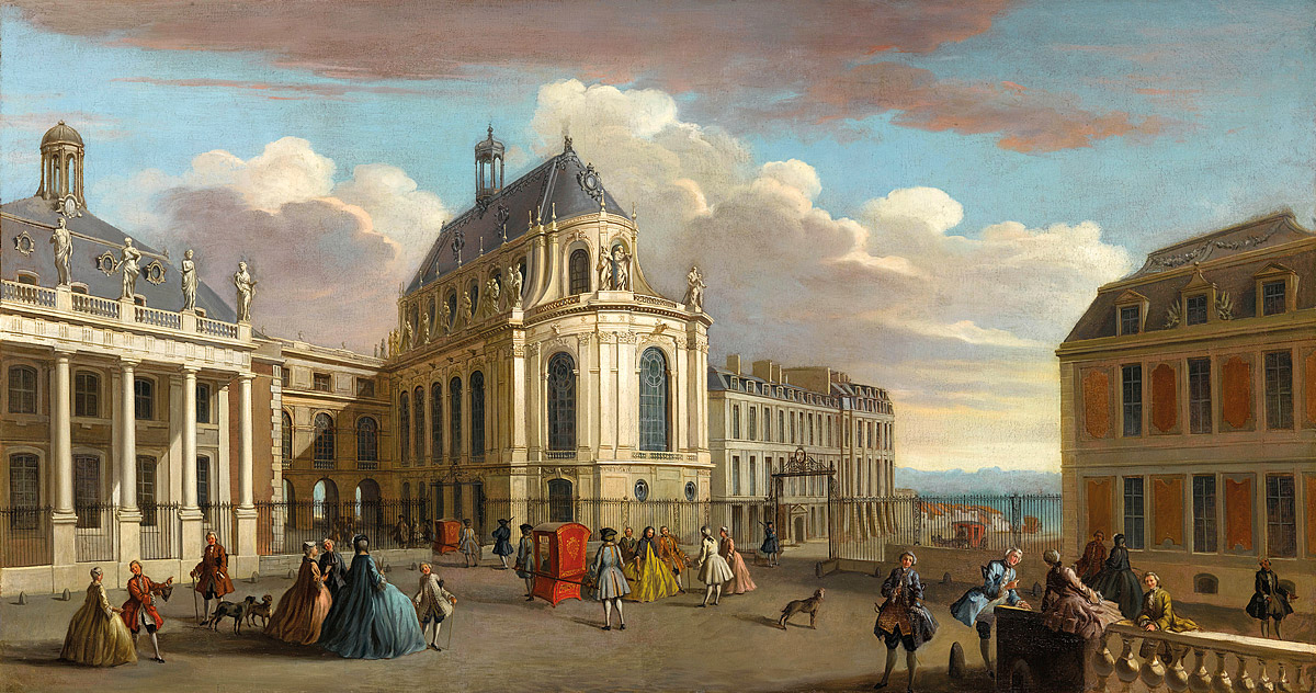 French school, Courtyard of the Royal Chapel, Palace of Versailles, c. 1725.  © RMN-Grand Palais (Château de Versailles) / Gérard Blot