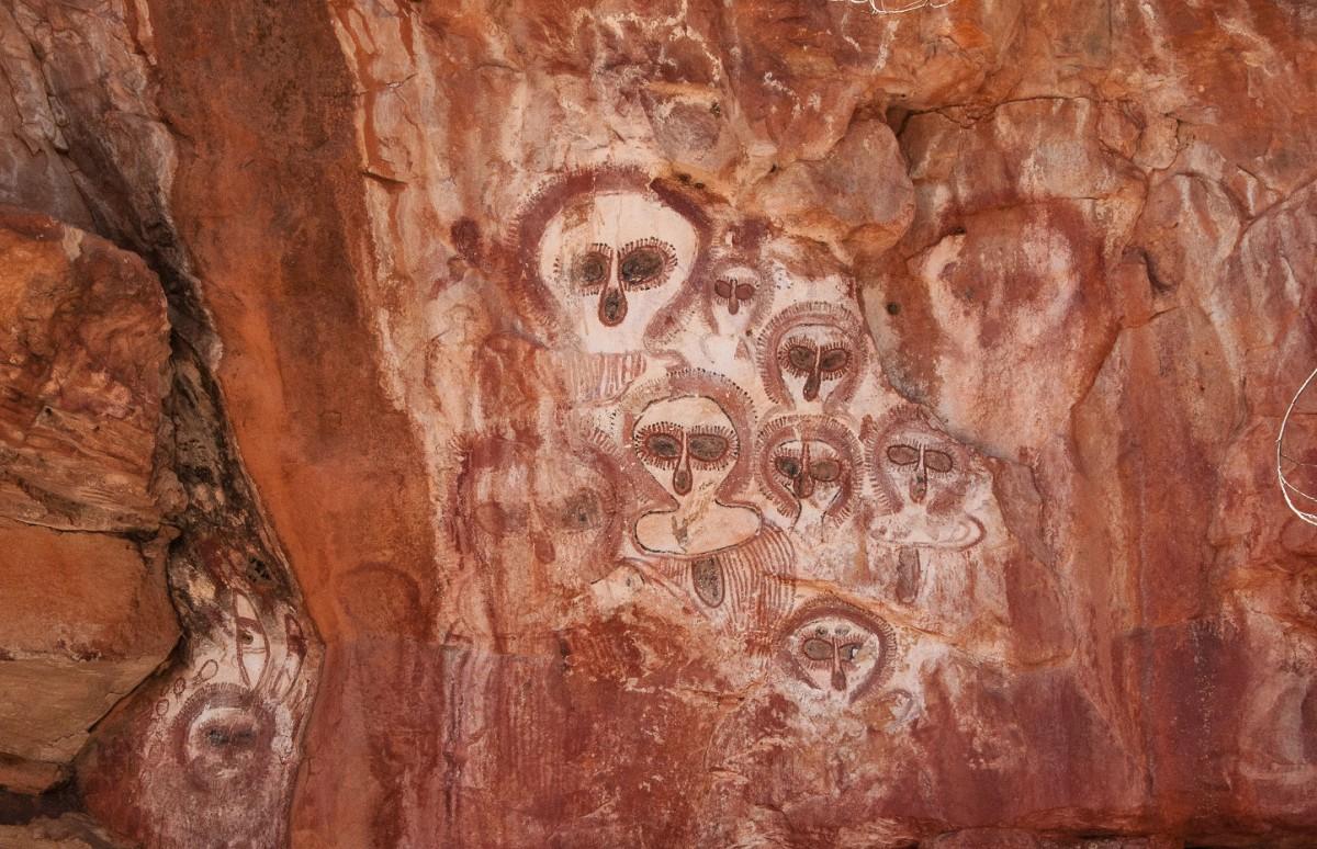 Aboriginal pictographs known as Wandjina in the Wunnumurra Gorge, Barnett River, Kimberley, Western Australia. Credit: Graeme Churchard