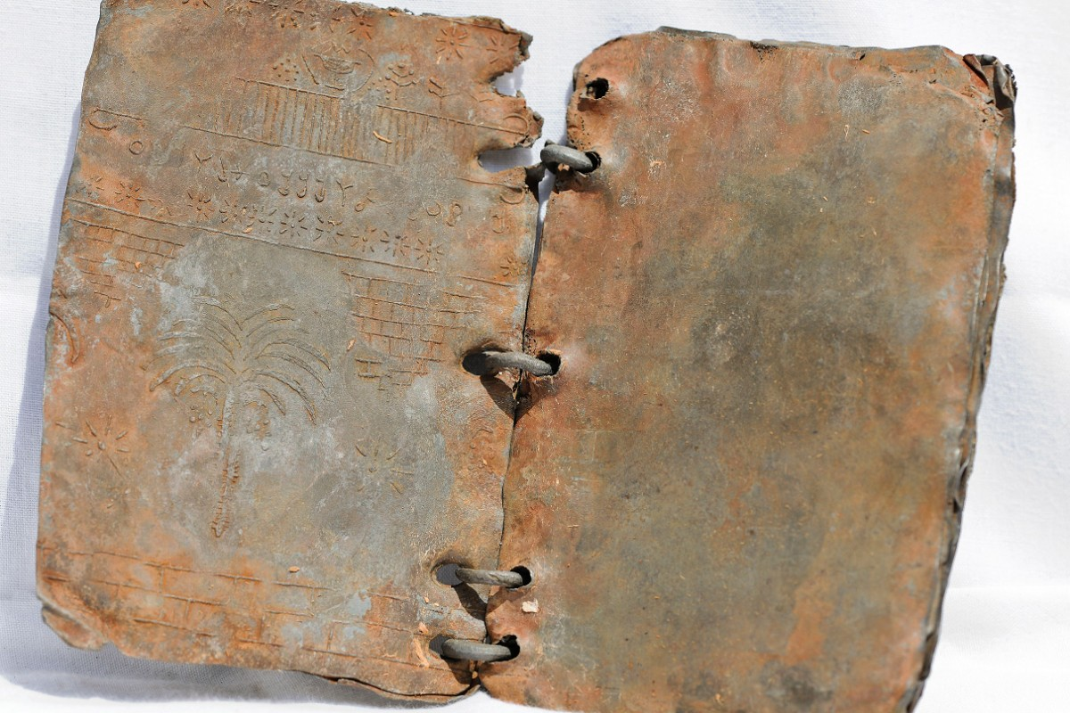 The Jordan Codices comprise a series of upwards of seventy ring-bound books made entirely of lead, with strong evidence showing that they date back to the first and second centuries CE. Photo credit: David Elkington – Watkins Publishing