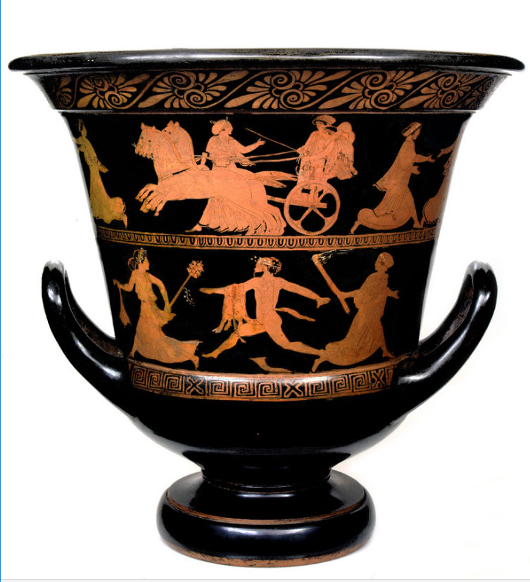 Red-figure calyx-krater, mid-fifth c. BC. The narrative themes are of a mythological nature, on two levels, the upper part depicting the abduction of the daughters of Leucippus by the twin deities Castor and Pollux. The lower part is a Bacchic scene involving satyrs pursing maenads. Museu Calouste Gulbenkian, Lisboa.