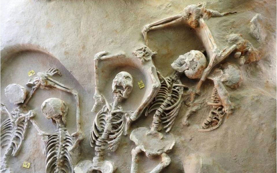 Some of the skeletons found at the Phaleron Delta Necropolis were shackled and some were buried face down. Photo Credit: Kathimerini.