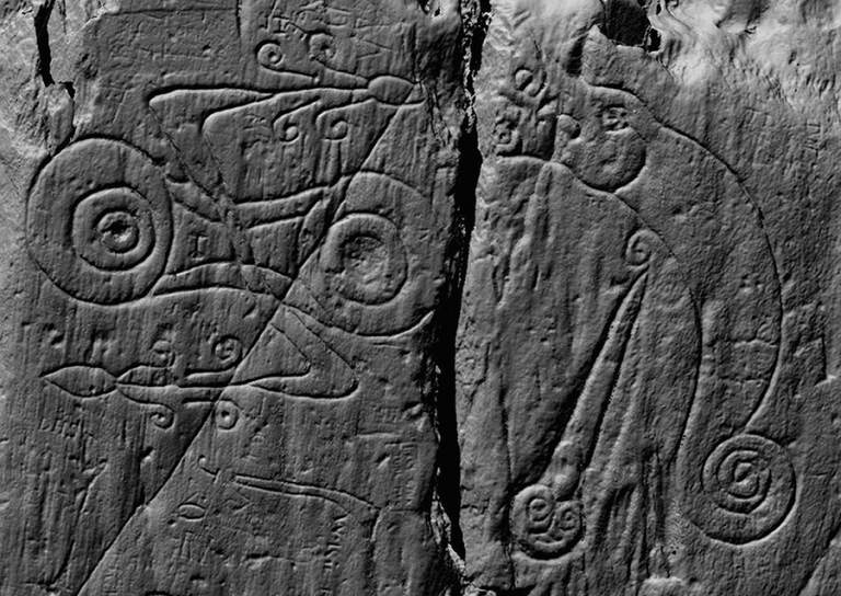 A laser scan image of the Pictish symbols carved at Trusty's Hill, comprising a z-rod-and-double-disc symbol on the left and a dragon-pierced-by-a-sword symbol on the right © DGNHAS / CDDV