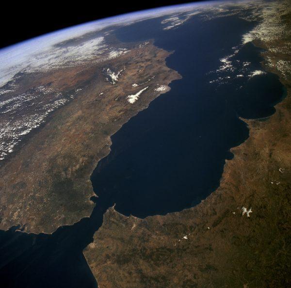 Satellite image of the Gibraltar Arc (NASA). Credit: NASA