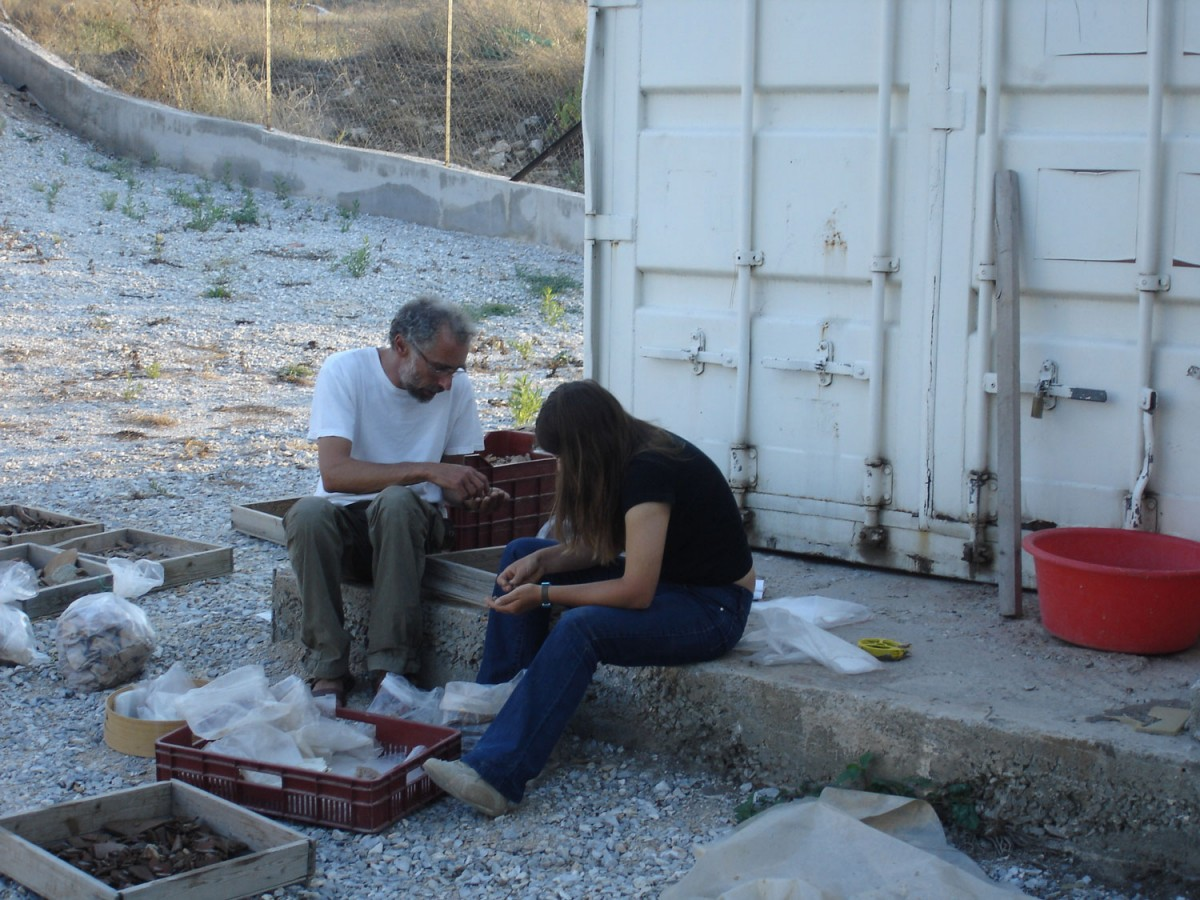 Recording the findings from the sanctuary of Apollo at Soros, 2006.