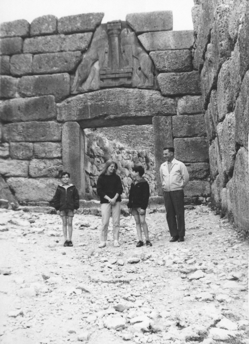 1969. Alexandros Mazarakis Ainian standing to attention in Mycenae with his parents, his brother and his cousin (photograph of his mother).