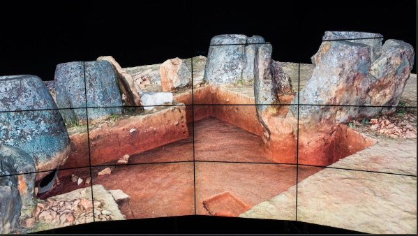 The aerial landscape images and other data from research at the Plain of Jars have been integrated into an advanced 3D simulation at the Cave2 virtual reality facility at Monash University. Credit: Plain of Jars Archaeological Project /MIVP Cave2