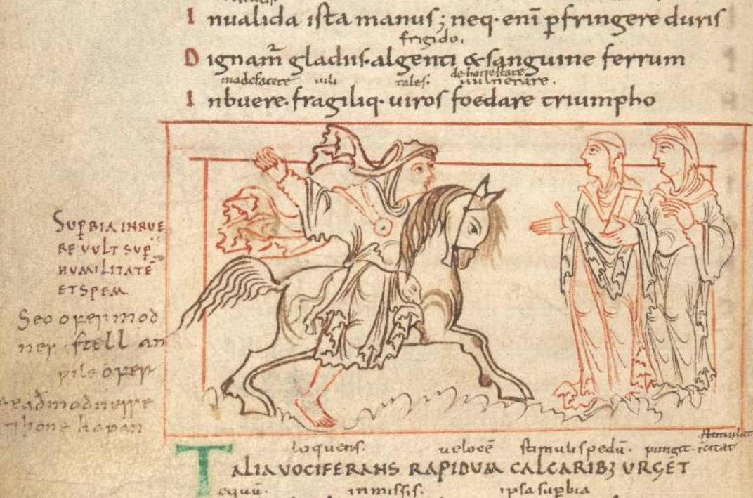 Here, Pride attacks Humility and Hope. (Cotton MS Cleopatra C VIII, f. 15v).