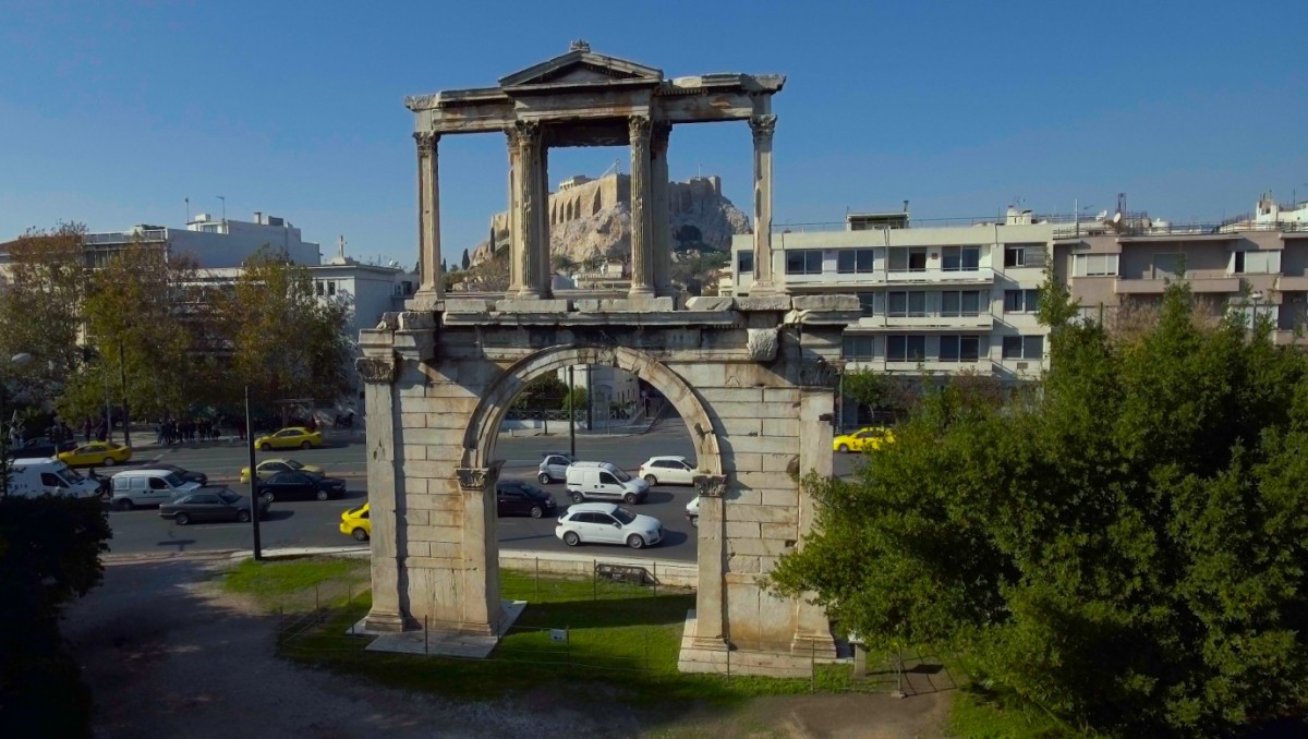 The gate of Hadrian in Athens.