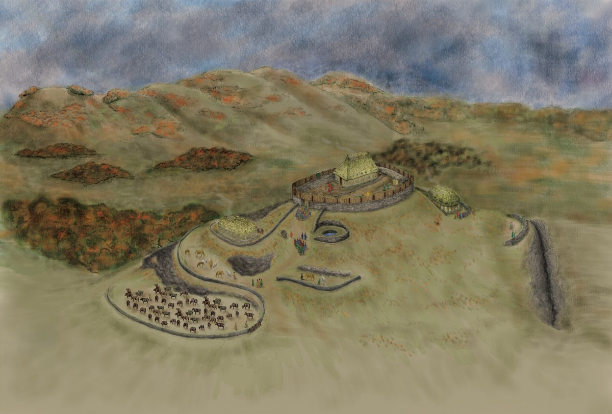 Reconstruction of the royal stronghold atop Trusty's Hill as it may have appeared c. AD 600. © DGNHAS / GUARD ARCHAEOLOGY LTD