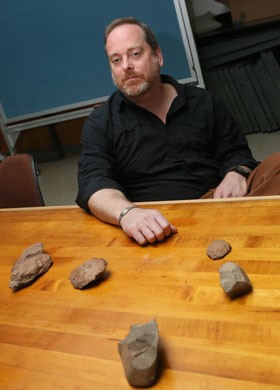 Norman found other ancient tools, including two Acheulean hand axes, an awl and a scraper,  whose ages vary from 100,000 to a million years old [Credit: Stephen Salpukas]