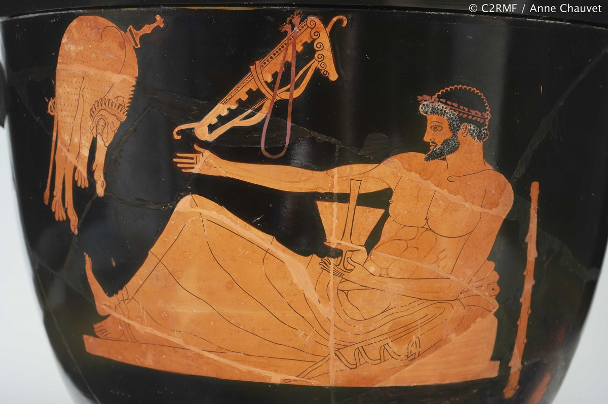 Greek, Attic, attributed to the Berlin Painter, Red-figure bell-krater: Side A depicting Herakles at a symposium. ca. 500-490 B.C. Ceramic. Paris, Louvre Museum, Department of Greek, Etruscan, and Roman Antiquities (G174). © Princeton University Art Museum