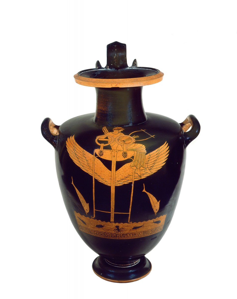 Greek, Attic, attributed to the Berlin Painter, Red-figure hydria depicting Apollo is seated on a large tripod with wings, with which he flies over the sea escorted by two dolphins in the act of diving. 490 B.C. Ceramic. Vatican , Museo Gregoriano Etrusco, Attic and Etruscan ceramics (Cat. 16568). © Musei Vaticani.