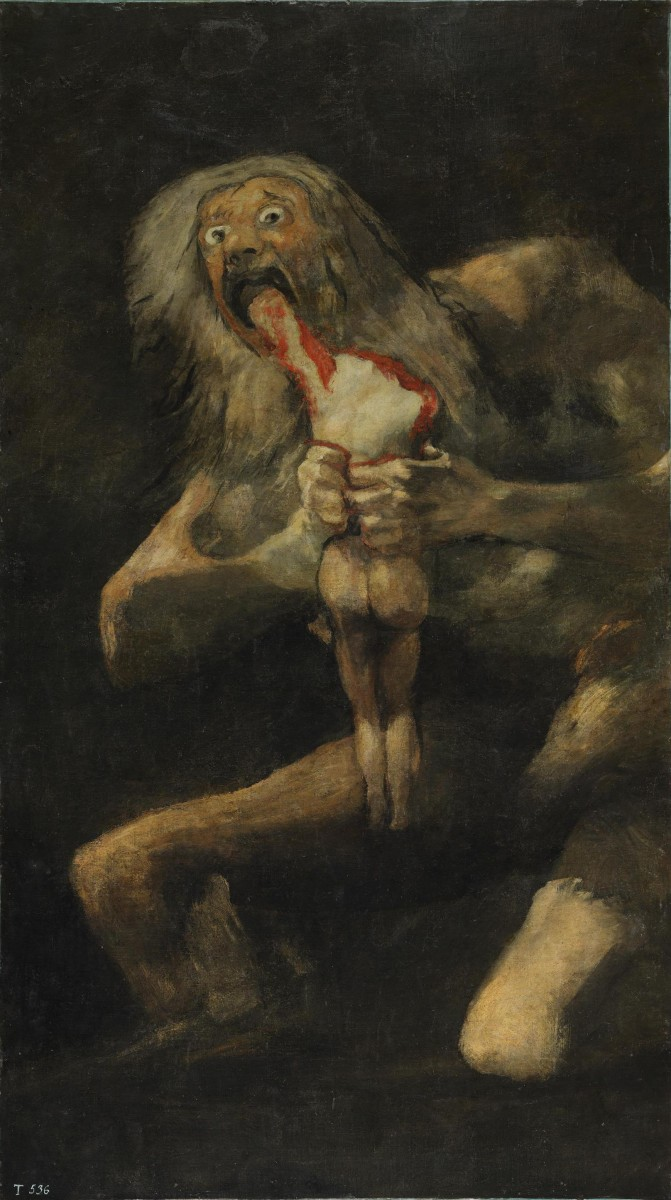 Saturn Devouring His Son, c. 1819–1823. Oil mural transferred to canvas, 143 × 81 cm. Museo del Prado, Madrid
