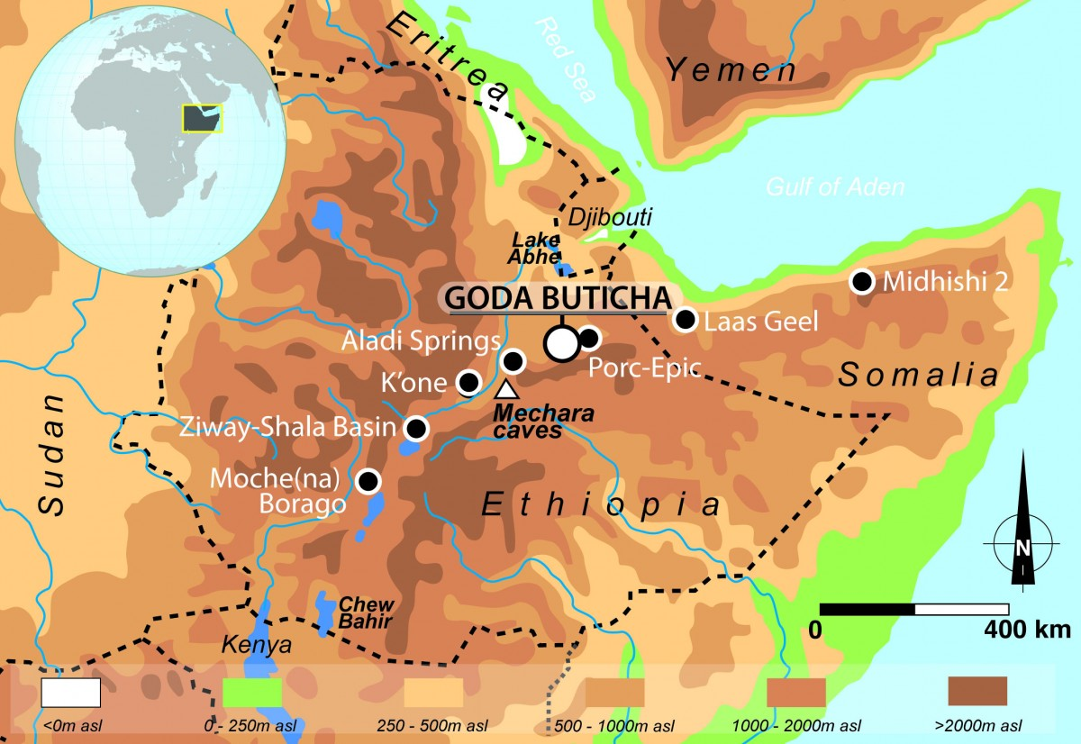 The Horn of Africa with location of Goda Buticha and sites mentioned in the text. Credit: C. Tribolo et al in PLOS ONE