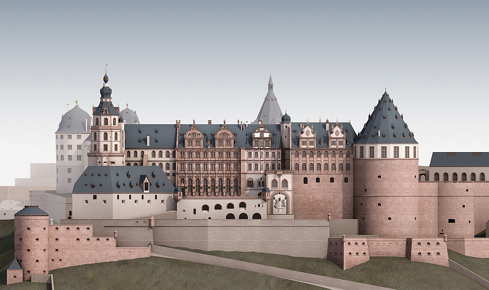 A magnificent residence: Reconstruction of the Heidelberg Castle around 1683. (Image: KIT)