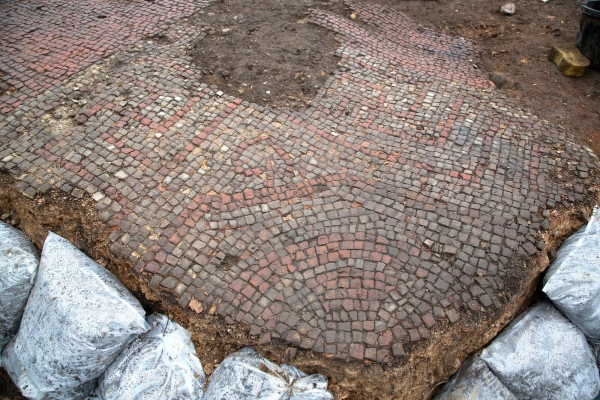 Part of the ornate mosaic floor discovered in Leicester.
