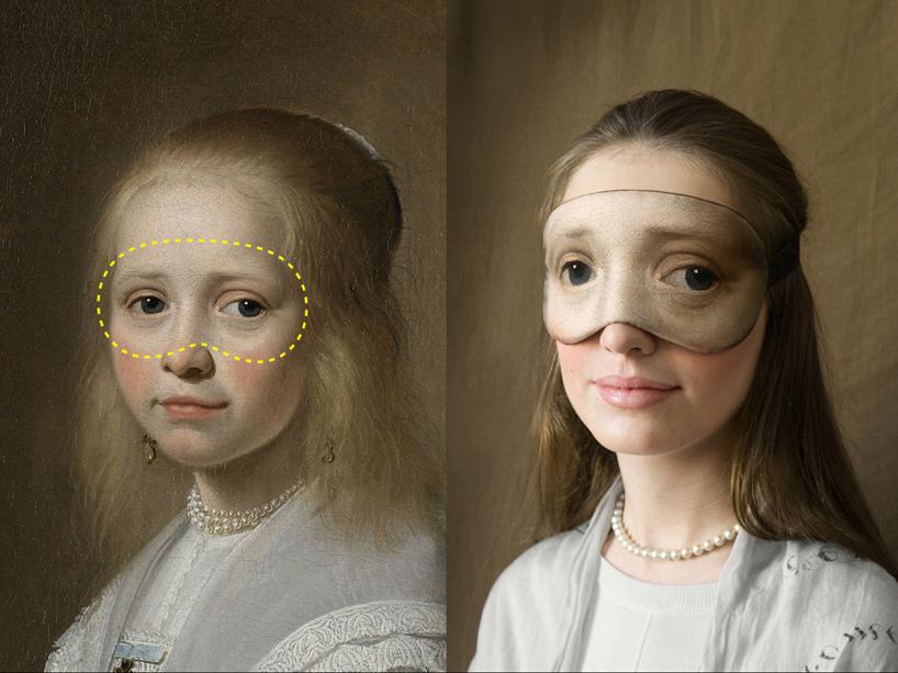 "Mask inspired by Johannes Cornelisz's ""Portrait of a girl dressed in blue"" (1641)."