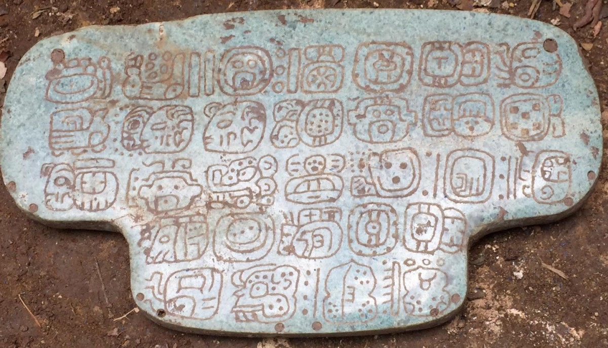The jade once belonging to an ancient Maya king is inscribed with 30 hieroglyphs. It was used during important religious ceremonies. Credit: Courtesy G. Braswell/UC San Diego