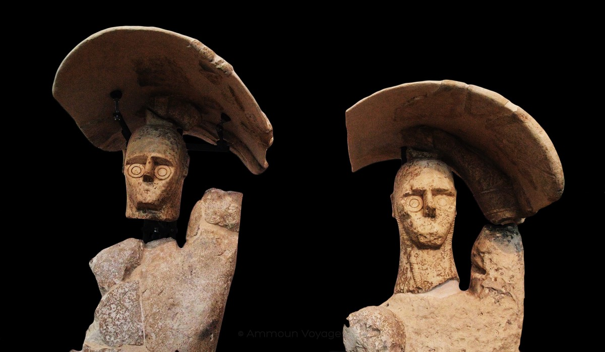 Two Giants of Mont'e Prama, holding shields over their heads. © Farès K Moussa