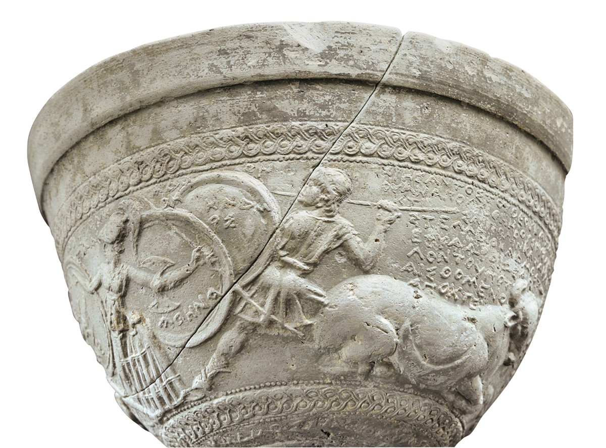 Fig. 3. Skyphos with relief depiction of the myth of Thebes founded by Cadmus, son of the King of Phoinike. 2nd century BC, Tanagra. Thebes Archaeological Museum.