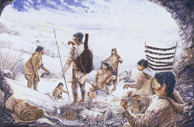 An artist imagines the camp of Beringian hunter-gatherers during the last ice age. To survive in the cold, Beringians would have needed tailored parkas and pants. Image credit: Beringia 15,000 Years Ago. Painting produced by Videoanthrop Inc., Montreal/M. François Girard. Canadian Museum of History, I-A-40, S95-23503