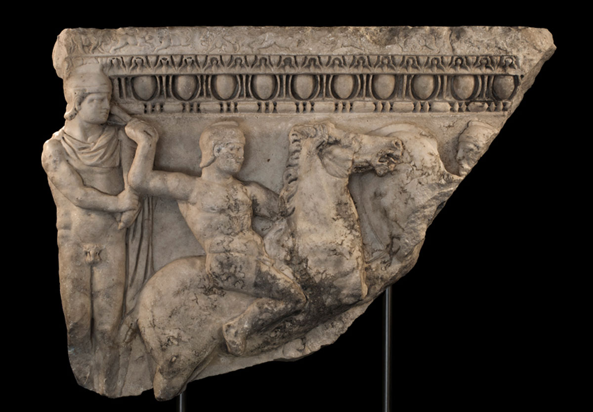 The section of an ancient sarcophagus, stolen from Greece in 1988, has been returned,  the Manhattan District Attorney's Office said [Credit: Ethnos]