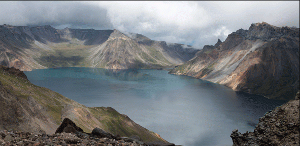 Changbaishan volcanic crater. Image: Clive Oppenheimer