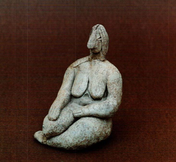 Seated female figure. Early Neolithic. Pontokomi, Kozani.