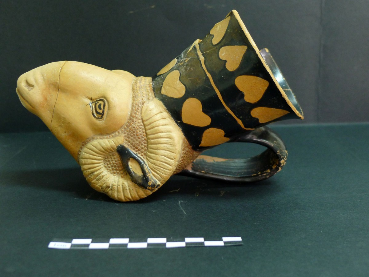 A cup in the shape of a ram head. Photo credit: Ephorate of Antiquities of Florina.