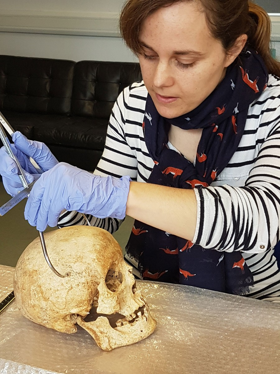 Dr Sarah Inskip examines the skull of Context 958. Image credit: Laure Bonner