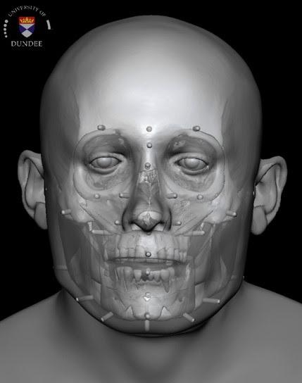 Facial reconstruction of Context 958. Image credit: Dr. Chris Rynn, University of Dundee