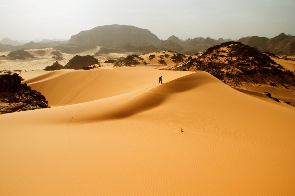 Tadrart Acacus desert in western Libya, part of the Sahara.