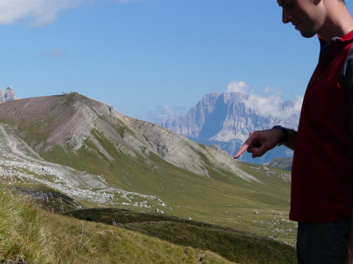 William Foster in the field pointing to the late Permian mass extinction horizon. Credit: Richard Twitchett
