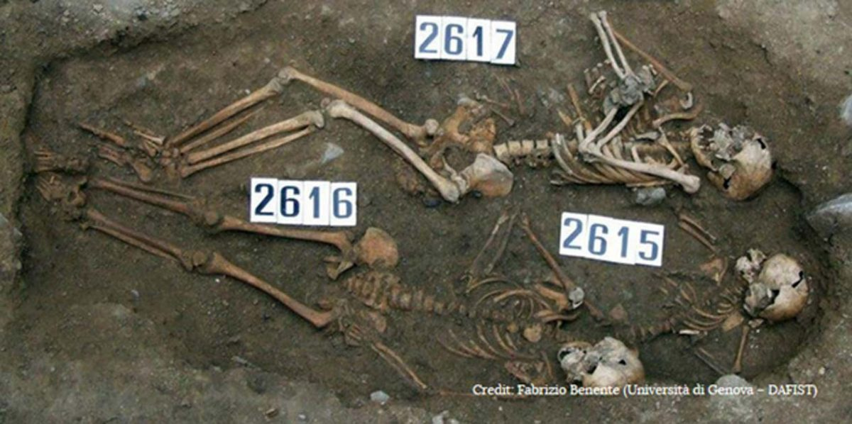 The remains of a mother and fetus were buried alongside those of two other children in the early days of the Black Death in Italy, however researchers cannot say for certain that they died of the plague. Credit: Fabrizio Benente (Università di Genova – DAFIST)